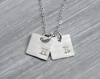 Square Initial Necklace Sterling Silver Personalized Jewelry Hand Stamped Mothers Necklace Initial Charm Initial Jewelry Mothers Jewelry