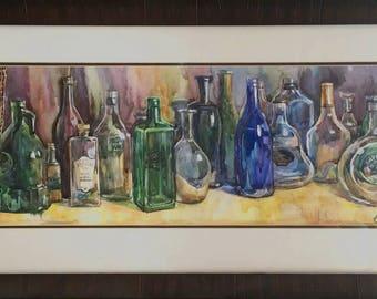 Bouttles. Framed original watercolor painting. Still life