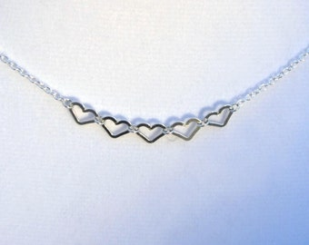 Five Tiny .925 Silver Heart Charm Necklace Sterling Silver Chain