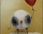 Snowman snowball Heart doll Valentine winter love farmhouse creepy cute shabby decor cottage kawaii spooky monster Quirky Primitive doll