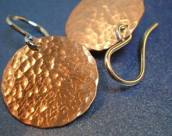 Hammered Copper Discs - Earrings - If I Had a Hammer