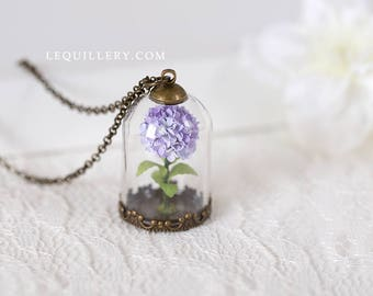 Paper hydrangea necklace, Miniature terrarium jewelry, Handmade paper flower necklace, Glass globe pendant, First Anniversary Gift for Her