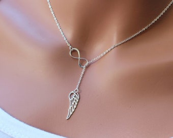 Infinity and angel wing lariat necklace in Sterling Silver.