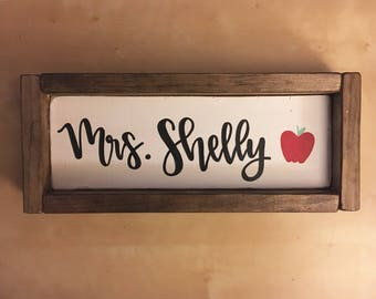 Teacher Name Desk Sign - Customized - Framed
