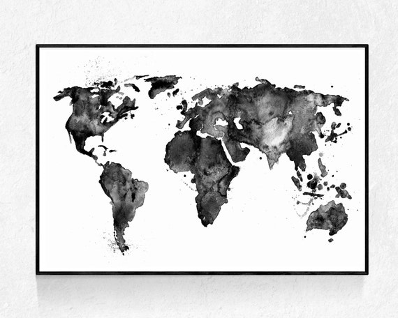 Watercolour Map Print Oversized Art Black And White Large - Map of the world poster black and white
