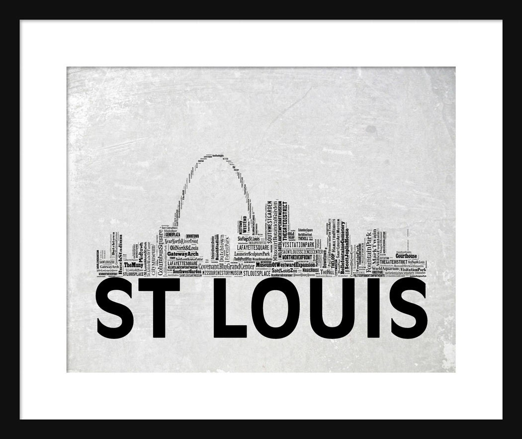 St. Louis Skyline Word Art Typography Print Poster Title Gray