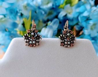 Vintage flower drop earrings, Flower earrings, bridesmaid gift, Everyday earrings, minimalist earrings, dainty earrings, gifts for her