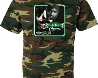 Obie Trice Cheers Camouflage T Shirt Green Woodland Camo