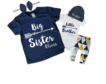 Personalized Big Sister/ Little Brother Shirt / Onesie and Pants Beanie and Headband Set