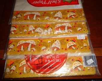 Four unopened packages Roylcraft Shelf Paper Mushrooms 11 1/4 sq ft 9 in x 5 yds long each package Decorative Shelf Paper Made in the USA