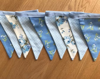 Beautiful Blue Floral & Blue Spotty Bunting