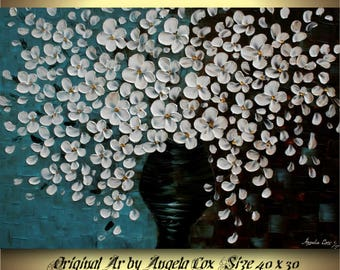 Original  White Flowers  Acrylic Impasto Textured Fine Art   Palette Knife Painting. 40 x 30.Free Shipping.