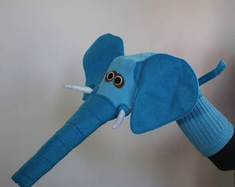Beautiful Blue Elephant Sock Puppet. Handmade puppet. Child and adult sizes.