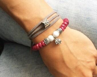Natural stone bracelet elephant bracelet wrap bracelet