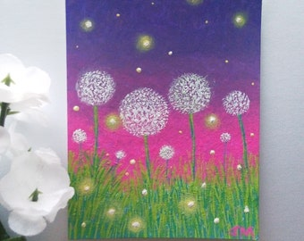 Fireflies in the Dandelions Original ACEO Painting 2018