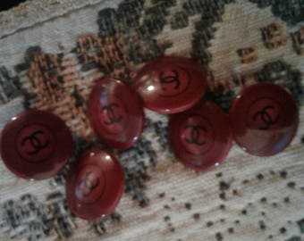 Set of 6 Scarlet Resin Sweet Tinies! CHANEL Authentic Buttons
