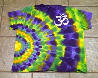Om Is Where The Heart Is: Hybrid Tie Dye and Batik T-Shirt; Women's 3XL