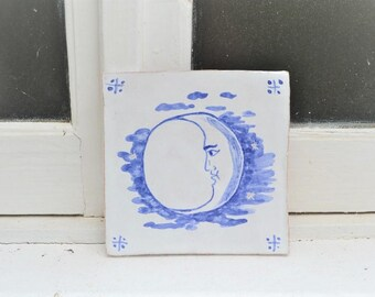 """Handmade stoneware tile moon """"Lua"""""""