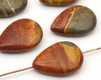 5 pcs red creek jasper teardrop beads, flat multicolor stone 25mm