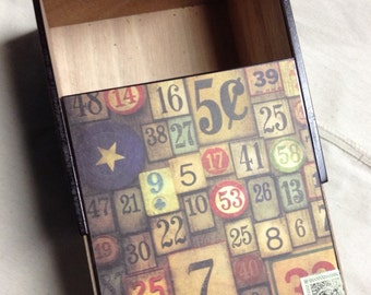 UPcycled Number Hand Decorated Cigar Box