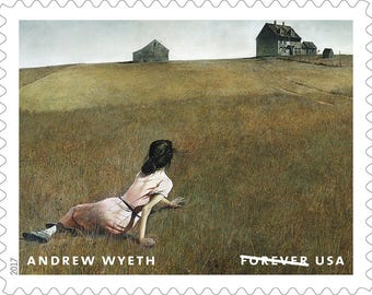 5 Unused Prairie Woman Painting Forever Stamps / Artist Andrew Wyeth / 1948 Painting Title: Christina's World / Forever Postage Stamps