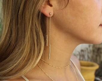 Long Gold beads Earrings, drop earrings, threader earring, Long Chain Earrings, dainty chain earring, Dangle Earrings, gold dangle earrings
