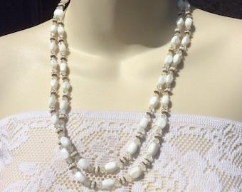 Vintage double strand milk glass beads fancy beaded wedding necklace .