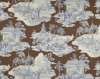 MANUEL CANOVAS TORTUGA Chinoiserie Oriental Toile Fabric 10 Yards Blue Brown