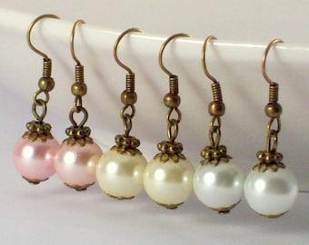 Vintage Style Pearl Bridesmaid Earrings, Pearl Wedding Earrings, Pear Earrings, Pearl Drop Earrings, Victorian Earrings, Victorian Jewelry