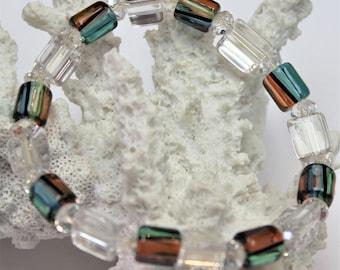 Artisan - Furnace Art Glass & Swarovski Crystal Stretch Bracelet