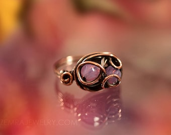Copper Wire Wrap Rose Opal Czech Glass Boho Style Double Beaded Pink Ring Size 7 Swirly Copper Wire Wrap October Birthstone Statement Ring