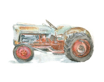 Watercolor Tractor, Old Tractor Print, Ford Tractor Print, Retro Tractor Print, Vintage Tractor Print