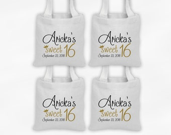 Sweet 16 Mini Tote Personalized Birthday Party Favor Bags - Set of 4 Custom Gift Bags - Black & Gold Reusable Tote Bags with Princess Crown