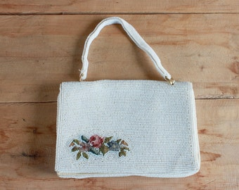 1950s beaded clutch | white floral beaded petit point purse