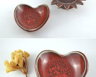 Vintage Ring Dish, Heart Ring Tray Pottery in Volcanic Red Glaze, Small Red Ceramic Heart, Ceramic Tray, Valentine's Gift, Jewelry Bowl