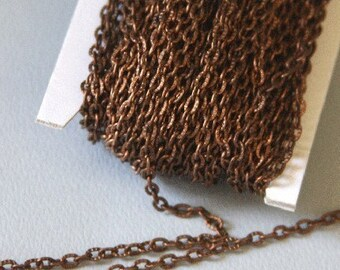 Antiqued copper finished high quality iron texture cable chain 2X3mm  45ft