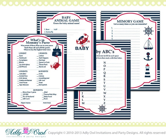 Essential Nautical Baby Shower Game Pack Printable For A
