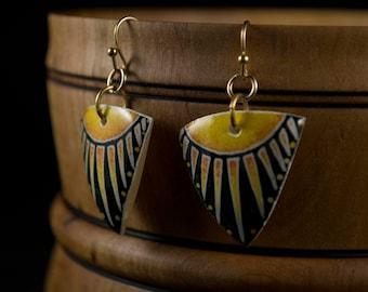 Sunrays on Real Goose Eggshell Earrings