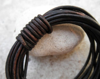 Natural Antique Brown- 2mm Leather Cord - By the Yard
