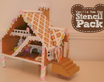 Gingerbread Hamster House Printable Stencil Pack