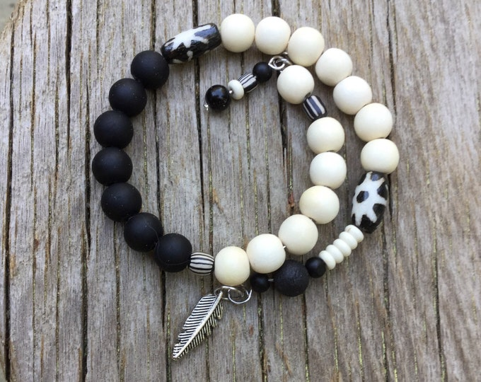 Ying-Yang-Mala-May - Customizable semi-precious black onyx mala/prayer wrap around bracelet