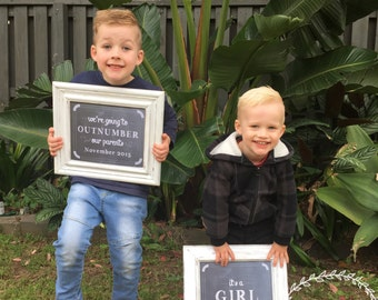 Sibling Pregnancy Announcement Sign / We're Going To Outnumber Our Parents with Due Date / Sibling Announcement Sign / Pregnancy Reveal 8x10