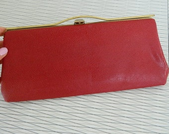 Vintage Bright Red Faux Reptiler Clutch
