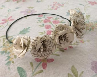 Flower crown - Recycled Paper Flowers - Bridal Flower Crown - Paper Flower Crown