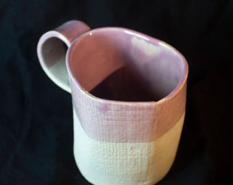Handmade Textured Mug Half-Glazed in Purple