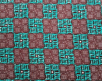 Turquoise and brown print, Ladder Print, African fabric By the Yard, African print, Ankara fabric by the yard, African wax print