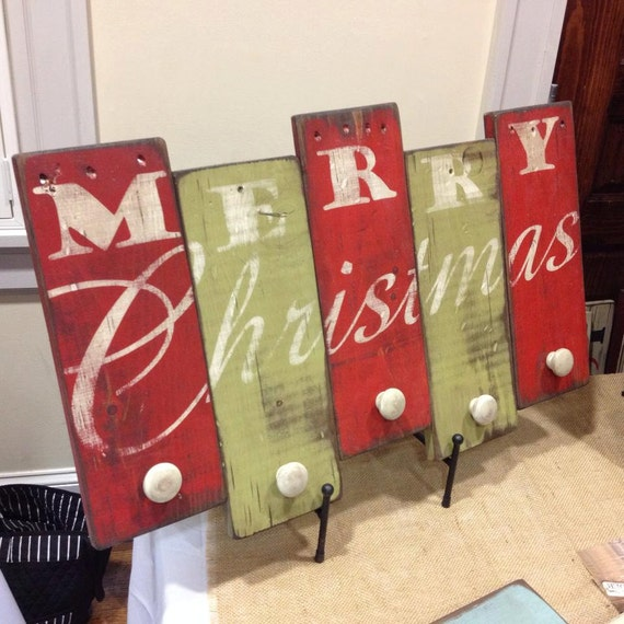 Christmas Stocking Holder Wooden Sign Merry Christmas