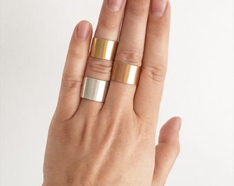 Shield - Wide Band Mixed Width Ring in Silver, Gold Filled, or Rose Gold Filled
