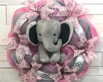 Baby Girl Elephant Wreath, Nursery Wreath, Baby Wreath, Baby Girl Wreath, Elephant Wreath, Baby Elephant Wreath, Pink Elephant Wreath