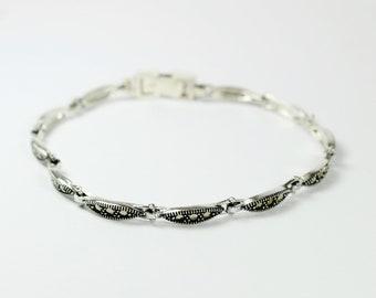 Art Deco Style (1920-1935) Sterling Silver Marcasite Thin Bracelet